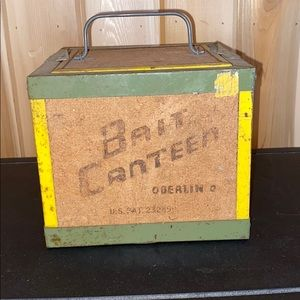 Vintage Oberlin Bait Canteen Worm Cork and Metal